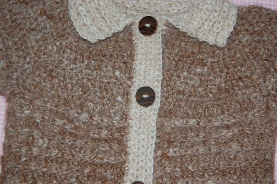 Baby Sweater Cardigan in Natural Undyed Alpaca Brown and Cream White size 18-24 months