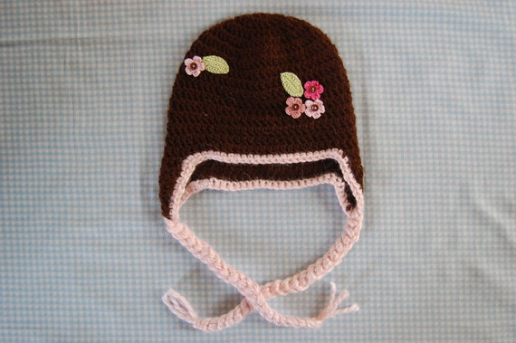 Alpaca Hat for Baby, Brown with Pink Flowers and Trim