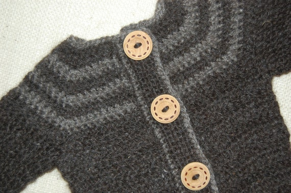 Cardigan for Baby in Natural Alpaca 9-12 months Sweater Shades of Gray