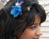 TRUE BLUE MADONNA (inspired) Blue Rose Vintage Button Feather Comb Fascinator Bachelorette Hair Clip