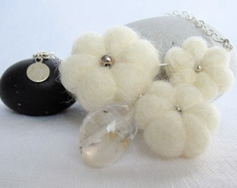 White felted flower necklace with crystal quartz nugget on sterling silver cable chain