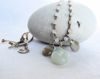 Beaded Dainty Necklace Labradorite Amazonite Moonstone and Sterling Silver on Braided Silk Cord. Gift for her.