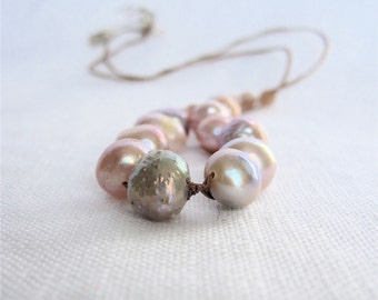 Pearl and Silk Necklace, Braided Cord. Pink  Pearls, lepidolite and sterling silver. Gift for her.