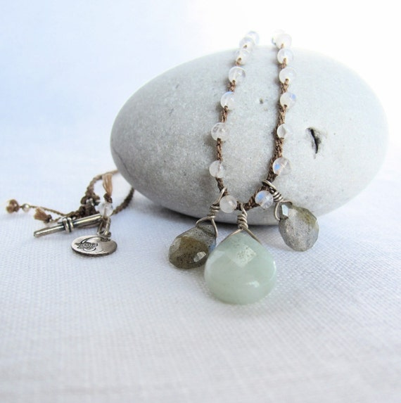 Necklace Labradorite Amazonite Moonstone and Sterling Silver on Braided Silk Cord.