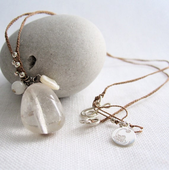 Necklace Crystal Quartz Pearl Sterling Silver Snow Quartz On Braided Silk Cord. Winter wedding. Bridesmaid gift. Gift for her.