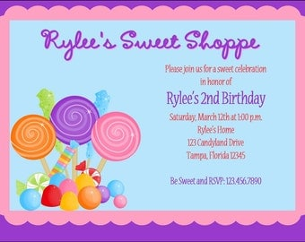 Cute Candy Shoppe Birthday Party Invitations