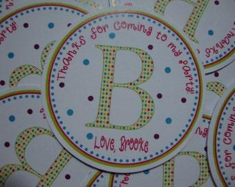 Monogram & Polka Dots Birthday Favor Tags BOY OR GIRL