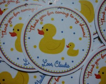Rubber Duck Baby Shower Favor Tags