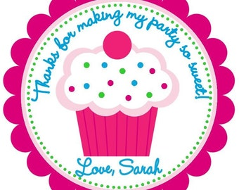 Girly Cupcake Favor Tags