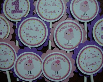 Tweet Little Birdy Cupcake Toppers