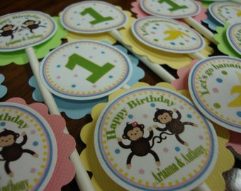 Double Monkey Cupcake Toppers