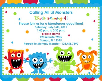 Adorable Monster Birthday Invitations