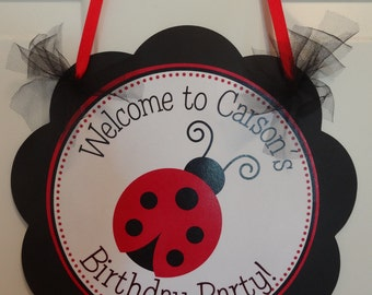 Red and Black Ladybug Door Sign