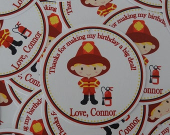 NEW- Firetruck Birthday Favor Tags