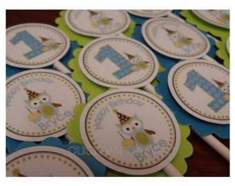 Adorable Owl with Birthday Hat Cupcake Toppers