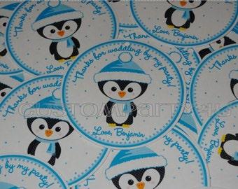 Adorable Penguin Winter ONEderland Custom Favor Tags for Boys