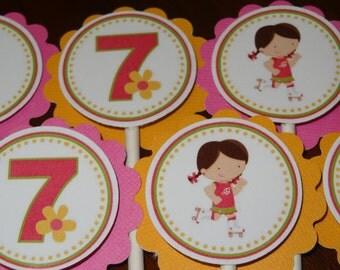 Roller Skate Cupcake Toppers for Girls