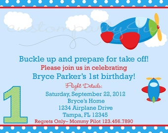 Little Airplane Custom Birthday Invitations