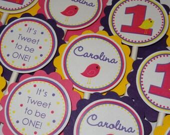 Springtime Tweet Bird Cupcake Toppers