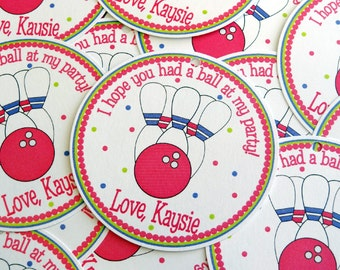 Girl Bowling Favor Tags