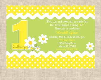 Daisy Birthday Party Invitation - Set of 12