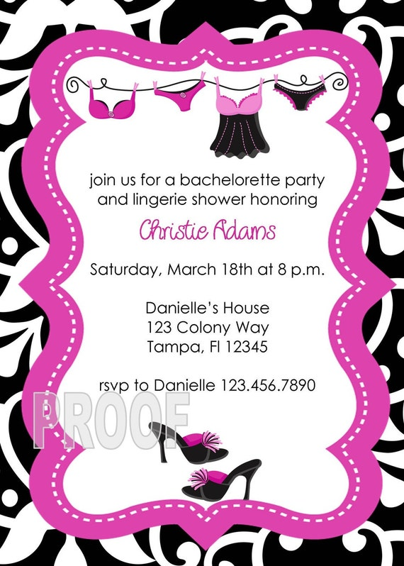 Lingerie Shower and Bachelorette Party Invitation