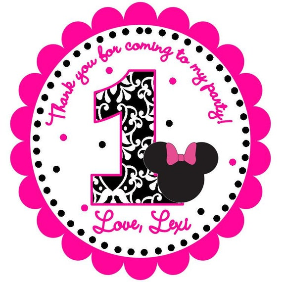 Black and Pink Minnie Mouse Inspired Custom Favor Tags
