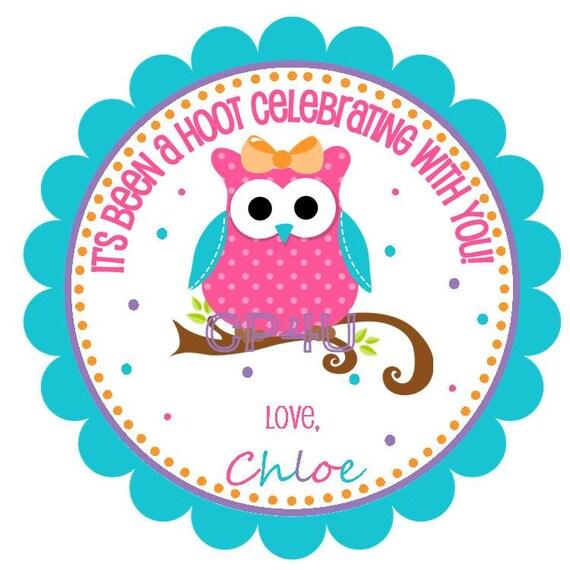 NEW - Hip Birthday Owl with Bow- Custom Favor Tags