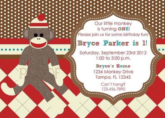 sock monkey custom birthday invitations by custompartyu on etsy, Birthday invitations
