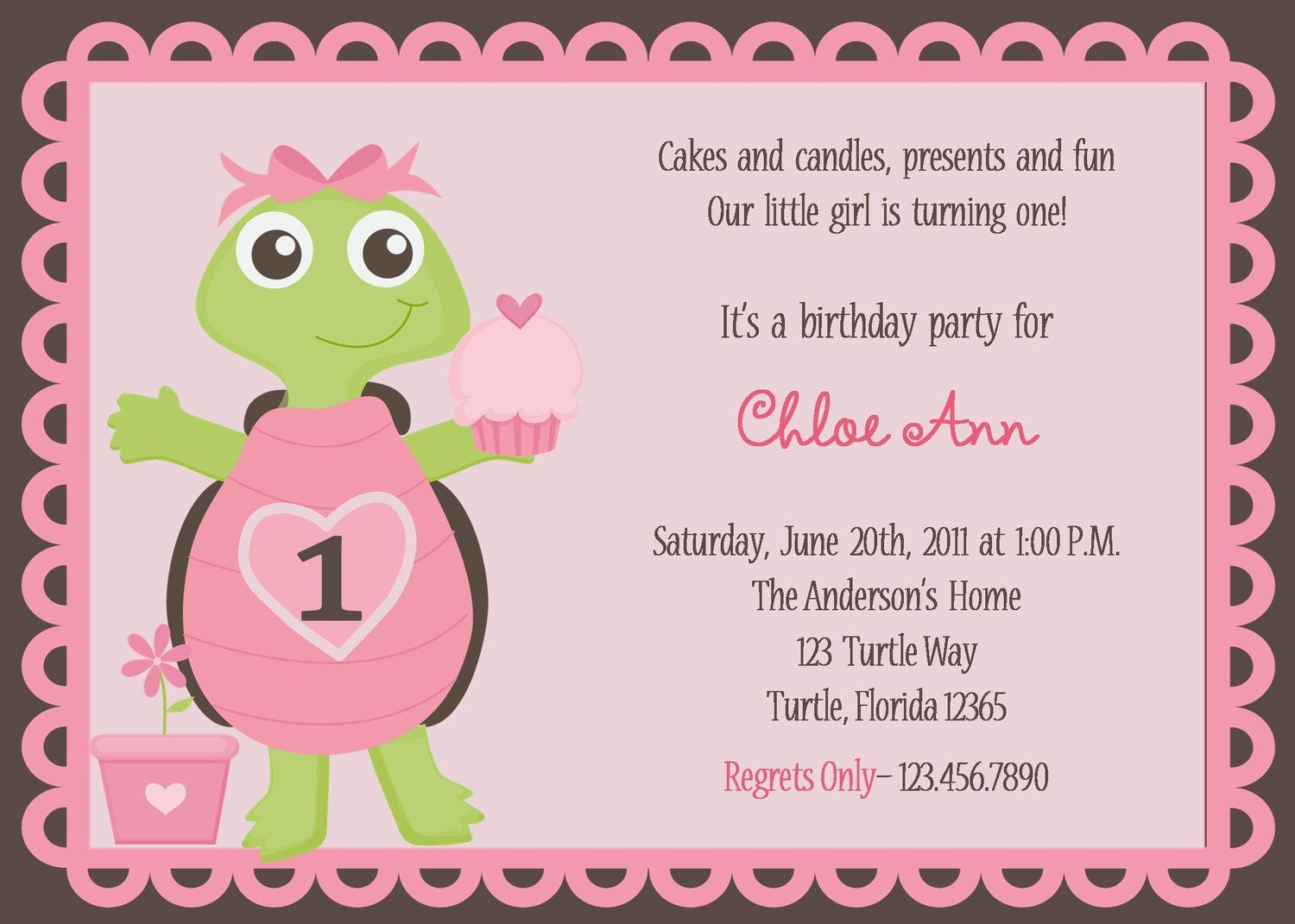 Adorable Pink Turtle Birthday Party Invitations – Turtle Birthday Invitations