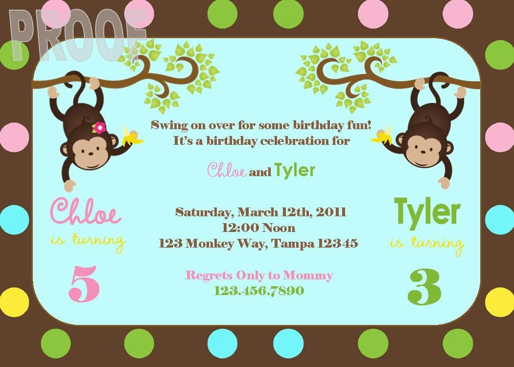 Printable Joint Birthday Party Invitations ~ New monkey joint birthday party custom invitation perfect for