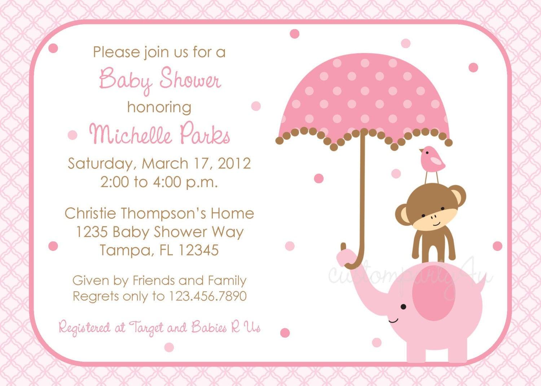 Polka Dot Elephant Baby Shower Invitation Girl Design
