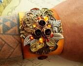 Steampunk Leather Wristband (C26) - Floral/Hawaiiana Design - Swarovski Crystals - Yellow Leather - Adjustable Straps