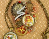 RESERVED LISTING for Mindy - Harry Potter Tribute Brooch - Steampunk Design - Gryffindor House Crest - Golden Snitch - Owl and Gears