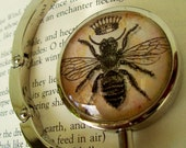 Steampunk Bag Hanger (H45) - Purse Hook - Vintage Bumble Bee Artwork Under Glass
