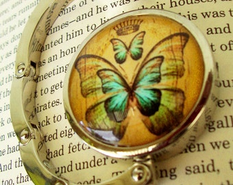Steampunk Bag Hanger (H44) - Purse Hook - Vintage Butterfly Artwork Under Glass