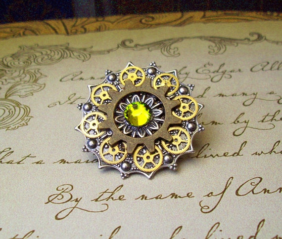 Steampunk Tie Tack or Pin (T9-3) - Silver Filigree with Brass Gears - Swarovski Crystals