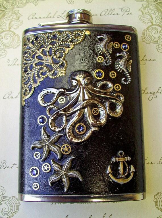 Steampunk Stainless Steel Flask (F40) - Kraken Octopus/Nautical Design - Black Glazed Antiqued Leather - Swarovski Crystals