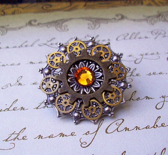 Steampunk Tie Tack or Pin (T13-2) - Silver Filigree with Brass Gears - Swarovski Crystals