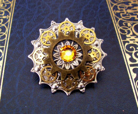Steampunk Tie Tack or Pin (T33-2) - Silver Filigree with Brass Gears - Swarovski Crystals