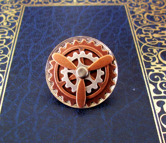 Steampunk Tie Tack or Pin (T37-2) - Brass Gears and Propeller - Moveable Parts