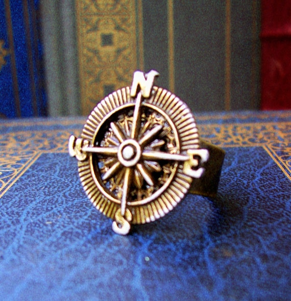 Steampunk Ring (R32-3) - Brass Compass Piece - Adjustable Solid Antique Brass Ring