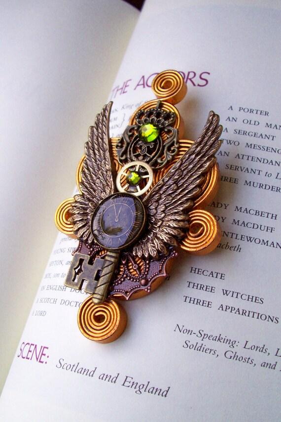 Steampunk Pin (M38) - Aviator Medal Design - Wings and Antique Key - Brass Gear - Swarovski Crystal