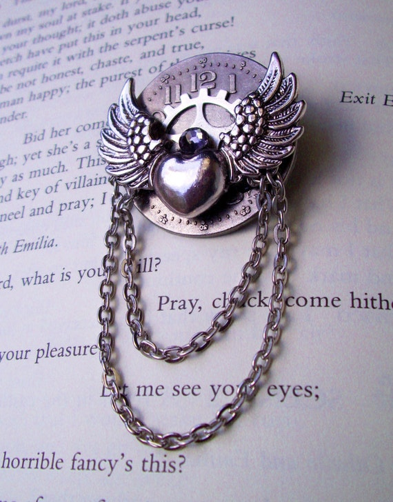 Steampunk Pin (A56-6) - Silver Winged Heart - Clockface and Gear - Swarovski Crystal - Dangle Chain
