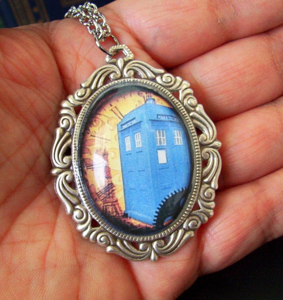 Steampunk Necklace (N52-13) - TARDIS / Steampunk Design - Glass Cabochon - Silver Plated Adjustable Brass Chain