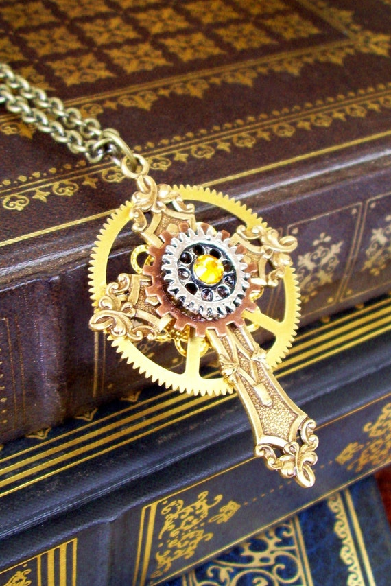 Steampunk Cross Necklace (C21) - Pendant - Gothic and Industrial Design - Gears and Swarovski Crystal - Adjustable Brass Chain