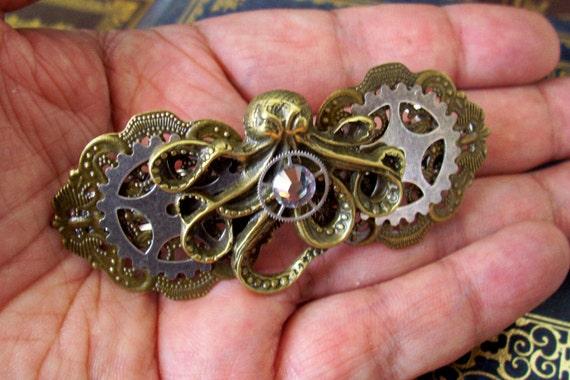 Steampunk Hair Clip (HC21) - Large Barrette - Kraken Octopus and Gears - Swarovski Crystal