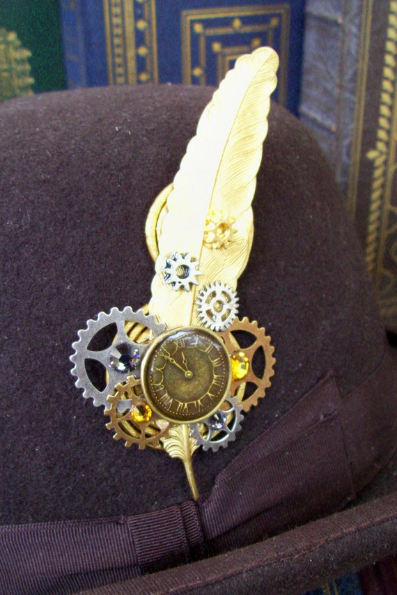 Steampunk Hat Pin or Brooch (HA29) - Gold Plated Brass Feather - Clockface - Gears - Swarovski Crystals