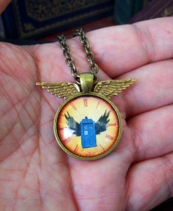 Steampunk Necklace (N104-3) - TARDIS under Glass Cabochon Winged Pendant with Chain