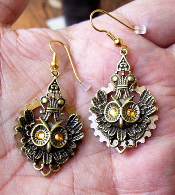 Owl Pendant Earrings (E47) - Antiqued Brass Owl Pendants - Brass Gear and Topaz Swarovski Crystals